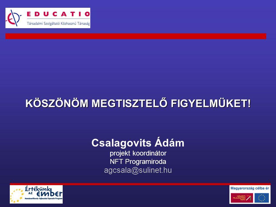 KÖSZÖNÖM MEGTISZTELŐ FIGYELMÜKET! Csalagovits Ádám projekt koordinátor NFT Programiroda agcsala@sulinet.hu
