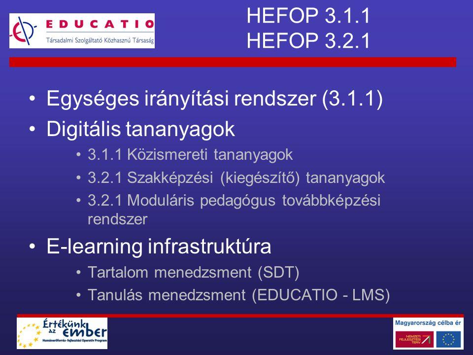 HEFOP 3.1.1 HEFOP 3.2.1 Egységes irányítási rendszer (3.1.1) Digitális tananyagok 3.1.1 Közismereti tananyagok 3.2.1 Szakképzési (kiegészítő) tananyag