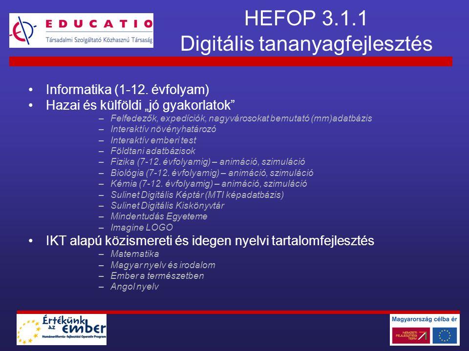 HEFOP 3.2.1 Digitális tananyagfejlesztés APERTUS KÖZALAPÍTVÁNY 17 szakmacsoportban (www.sulinet.hu/TISZK) 2 kiemelt szakmacsoport (www.sulinet.hu/TISZK) EDUCATIO Társadalmi Szolgáltató Kht.