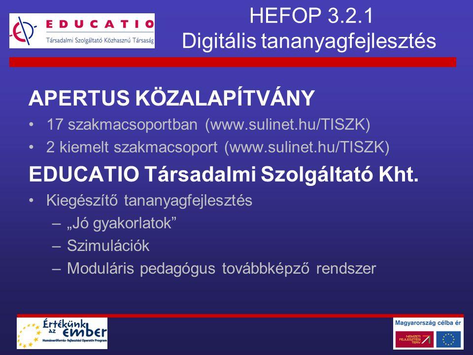 HEFOP 3.2.1 Digitális tananyagfejlesztés APERTUS KÖZALAPÍTVÁNY 17 szakmacsoportban (www.sulinet.hu/TISZK) 2 kiemelt szakmacsoport (www.sulinet.hu/TISZ