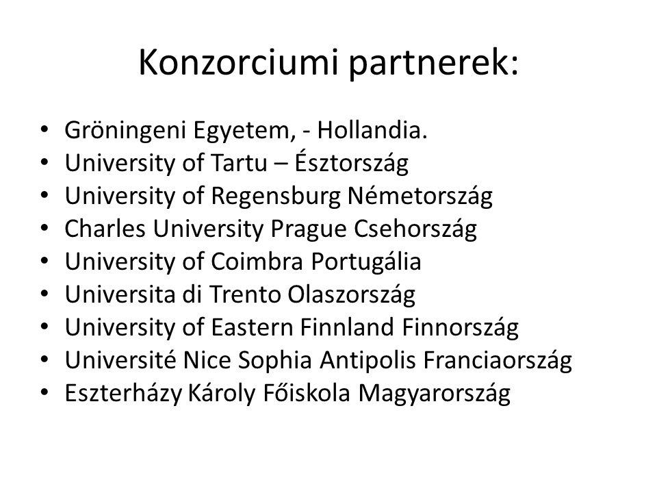 Konzorciumi partnerek: Gröningeni Egyetem, - Hollandia. University of Tartu – Észtország University of Regensburg Németország Charles University Pragu