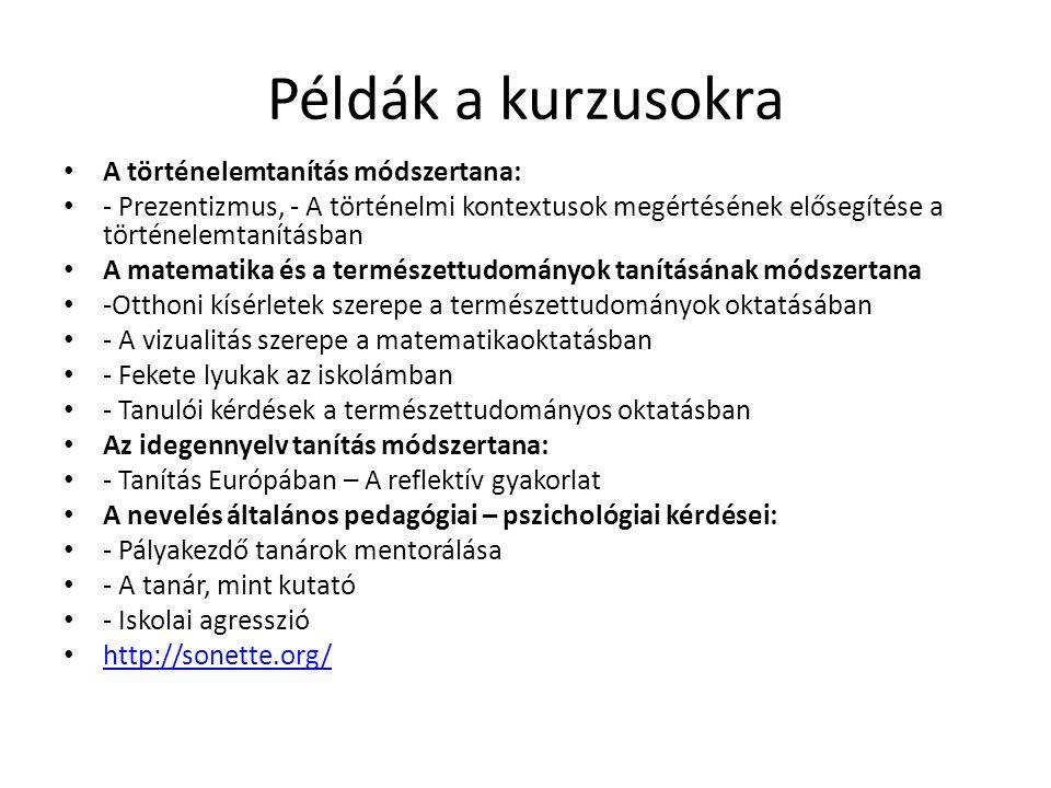 Az EKF által meghirdetett online kurzusok Vizualitás a matematikaoktatásban http://vismath.ektf.hu/ Iskolai agresszió