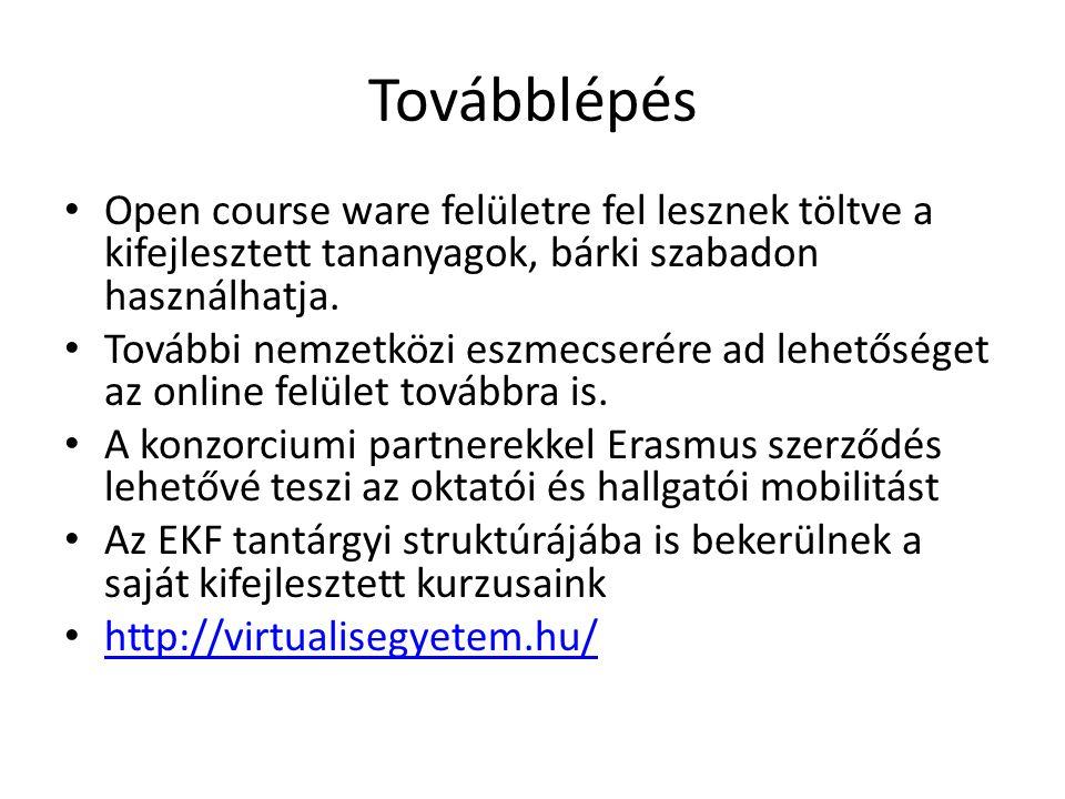 Továbblépés Open course ware felületre fel lesznek töltve a kifejlesztett tananyagok, bárki szabadon használhatja.