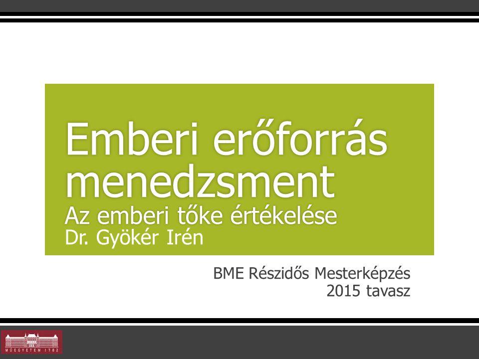 BME Részidős Mesterképzés 2015 tavasz Emberi erőforrás menedzsment Az emberi tőke értékelése Emberi erőforrás menedzsment Az emberi tőke értékelése Dr.