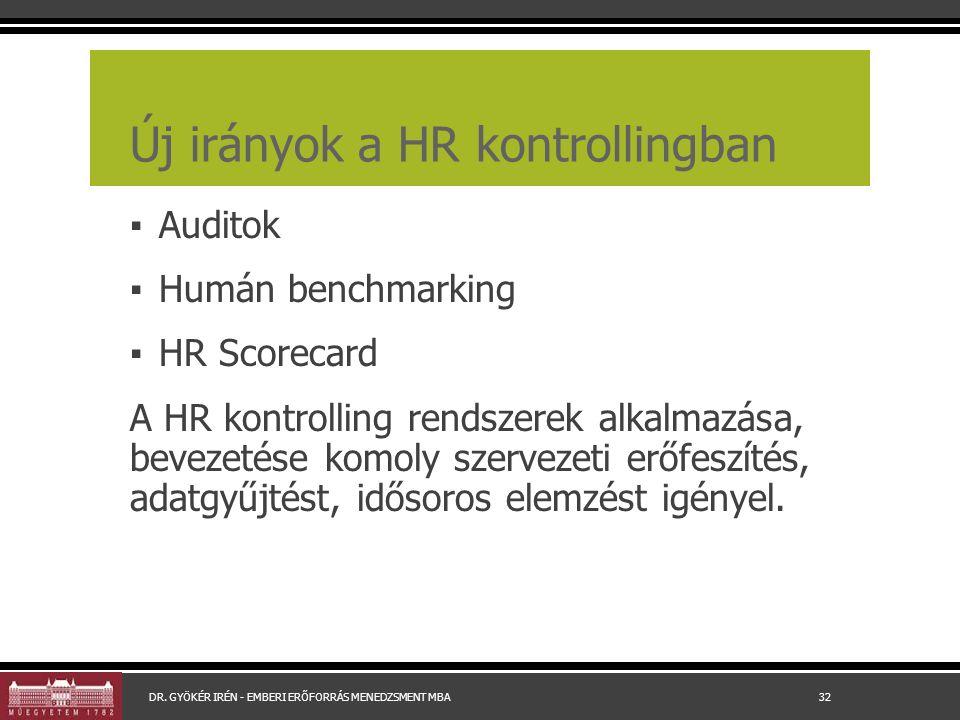 Új irányok a HR kontrollingban ▪ Auditok ▪ Humán benchmarking ▪ HR Scorecard A HR kontrolling rendszerek alkalmazása, bevezetése komoly szervezeti erőfeszítés, adatgyűjtést, idősoros elemzést igényel.