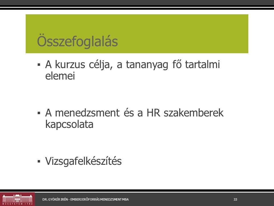 Összefoglalás ▪ A kurzus célja, a tananyag fő tartalmi elemei ▪ A menedzsment és a HR szakemberek kapcsolata ▪ Vizsgafelkészítés DR.