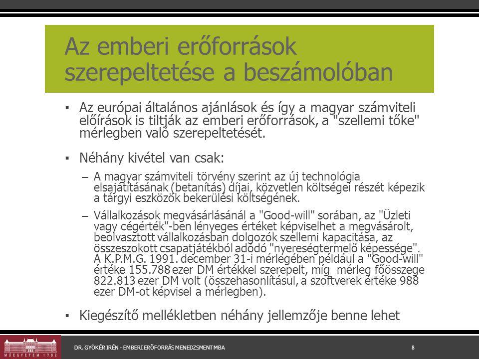 Az emberi erőforrások szerepeltetése a beszámolóban ▪ Az európai általános ajánlások és így a magyar számviteli előírások is tiltják az emberi erőforrások, a szellemi tőke mérlegben való szerepeltetését.
