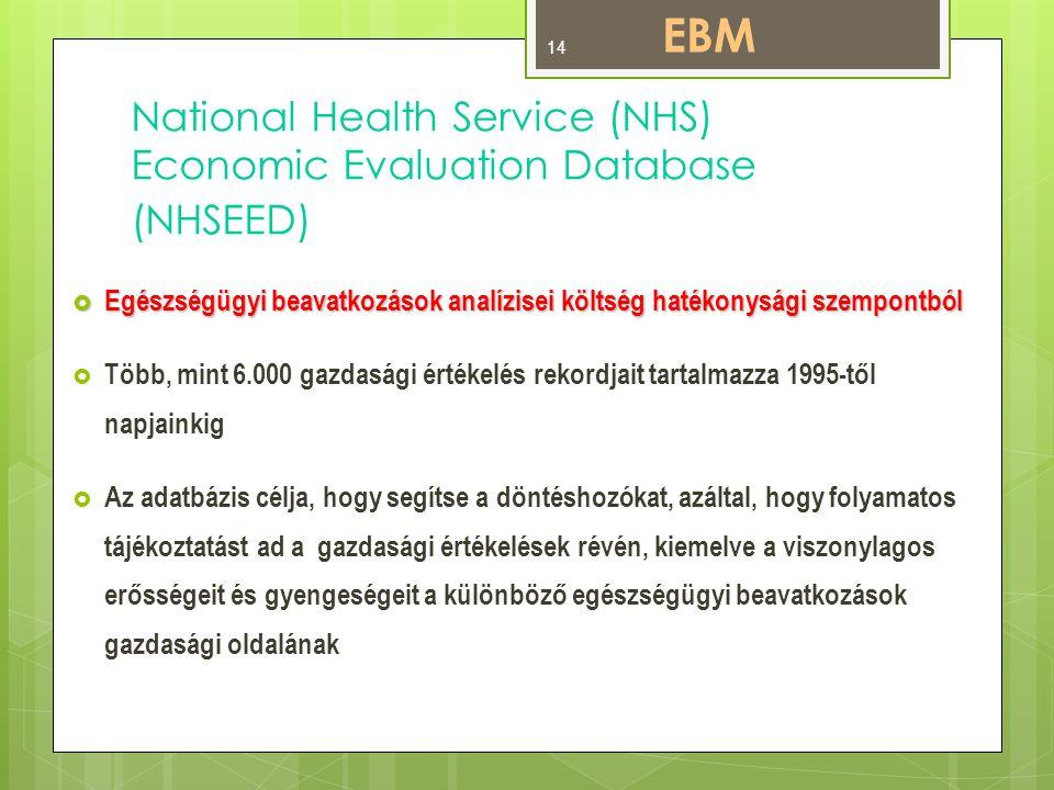 National Health Service (NHS) Economic Evaluation Database (NHSEED)  Egészségügyi beavatkozások analízisei költség hatékonysági szempontból  Több, mint 6.000 gazdasági értékelés rekordjait tartalmazza 1995-től napjainkig  Az adatbázis célja, hogy segítse a döntéshozókat, azáltal, hogy folyamatos tájékoztatást ad a gazdasági értékelések révén, kiemelve a viszonylagos erősségeit és gyengeségeit a különböző egészségügyi beavatkozások gazdasági oldalának EBM 14