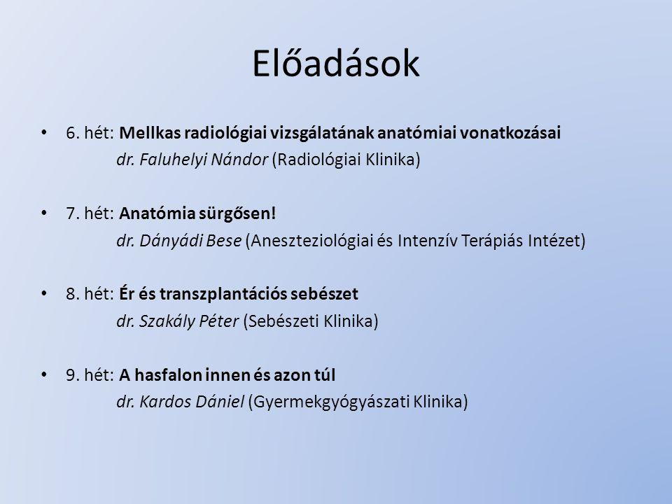 Előadások 6. hét: Mellkas radiológiai vizsgálatának anatómiai vonatkozásai dr. Faluhelyi Nándor (Radiológiai Klinika) 7. hét: Anatómia sürgősen! dr. D