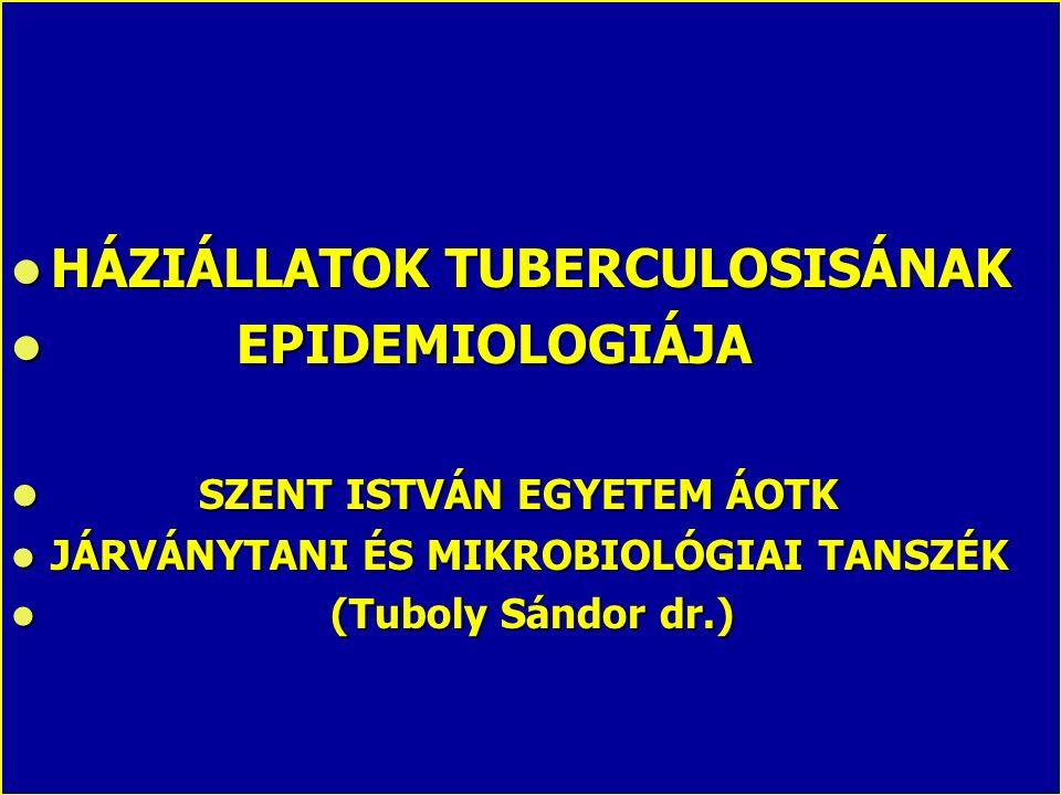HÁZIÁLLATOK TUBERCULOSISÁNAK HÁZIÁLLATOK TUBERCULOSISÁNAK EPIDEMIOLOGIÁJA EPIDEMIOLOGIÁJA SZENT ISTVÁN EGYETEM ÁOTK SZENT ISTVÁN EGYETEM ÁOTK JÁRVÁNYT