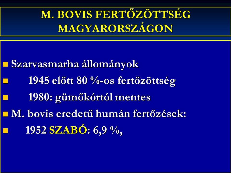 M. BOVIS FERTŐZÖTTSÉG MAGYARORSZÁGON Szarvasmarha állományok Szarvasmarha állományok 1945 előtt 80 %-os fertőzöttség 1945 előtt 80 %-os fertőzöttség 1