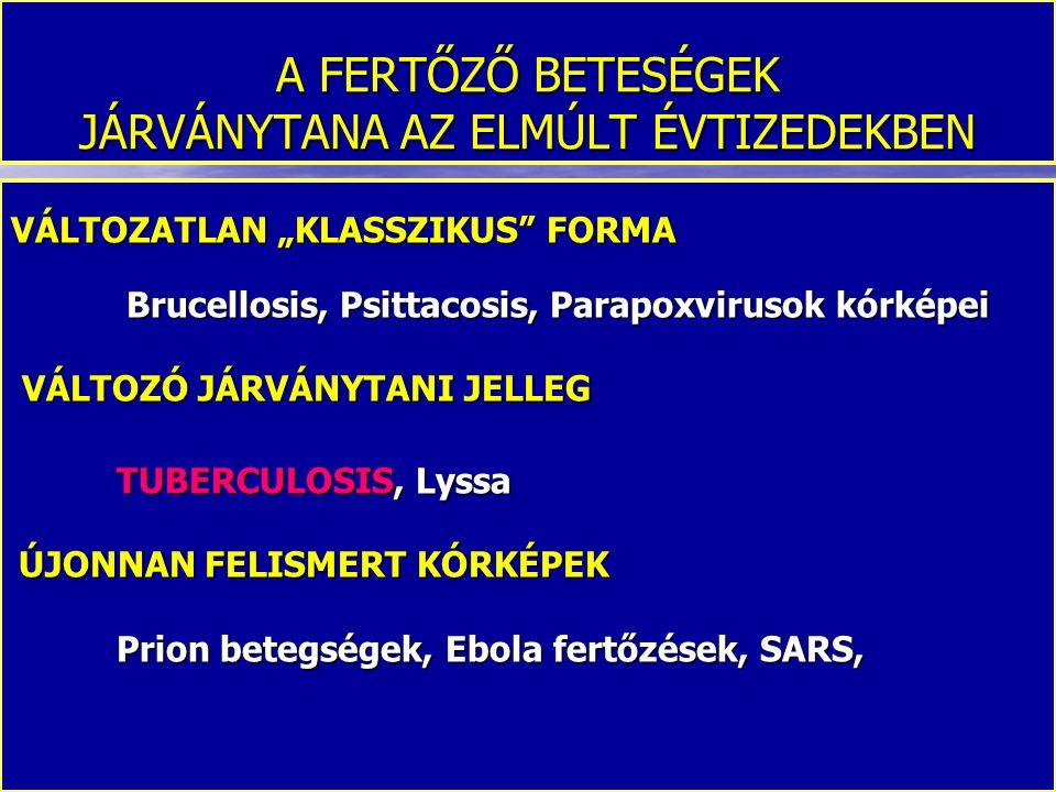 """A FERTŐZŐ BETESÉGEK JÁRVÁNYTANA AZ ELMÚLT ÉVTIZEDEKBEN VÁLTOZATLAN """"KLASSZIKUS"""" FORMA Brucellosis, Psittacosis, Parapoxvirusok kórképei Brucellosis, P"""