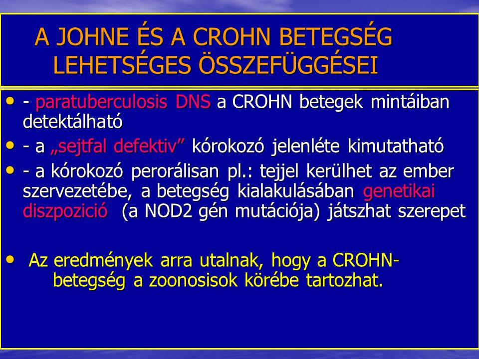 A JOHNE ÉS A CROHN BETEGSÉG LEHETSÉGES ÖSSZEFÜGGÉSEI A JOHNE ÉS A CROHN BETEGSÉG LEHETSÉGES ÖSSZEFÜGGÉSEI - paratuberculosis DNS a CROHN betegek mintá
