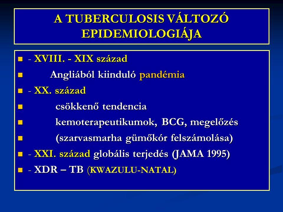 A TUBERCULOSIS VÁLTOZÓ EPIDEMIOLOGIÁJA - XVIII. - XIX század - XVIII. - XIX század Angliából kiinduló pandémia Angliából kiinduló pandémia - XX. száza