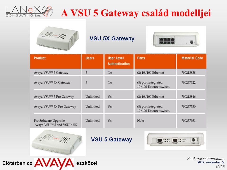 Előtérben az eszközei Szakmai szeminárium 2002. november 5. 10/26 VSU 5X Gateway VSU 5 Gateway A VSU 5 Gateway család modelljei