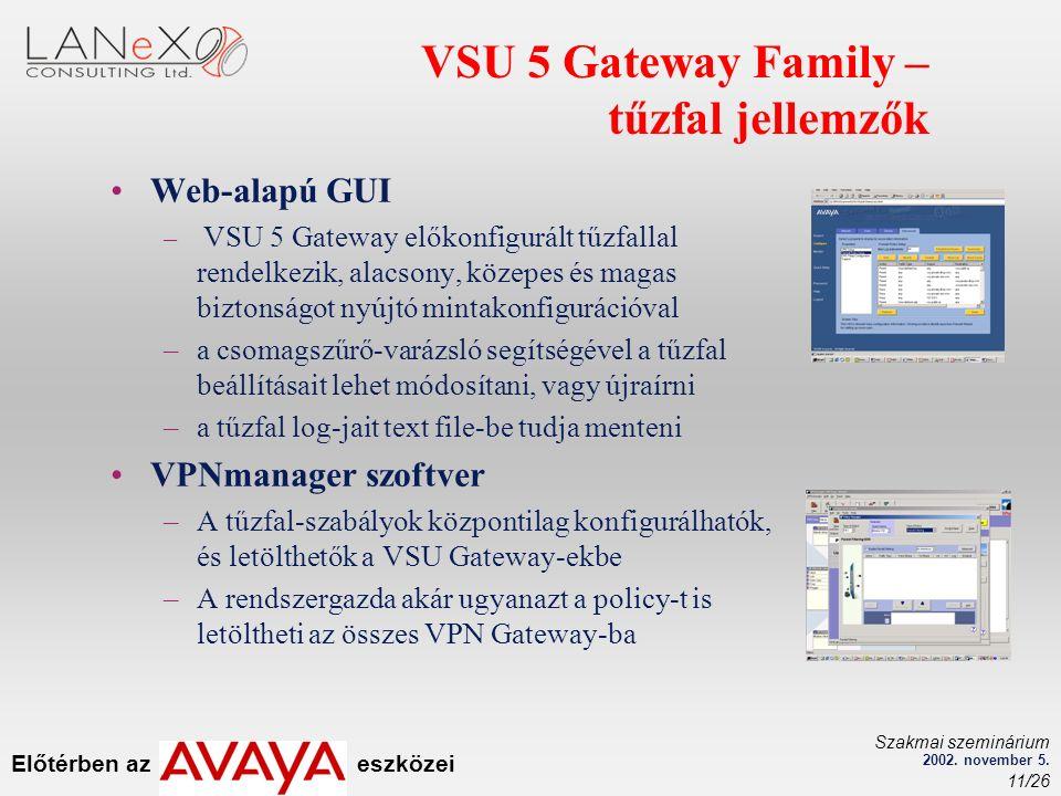 Előtérben az eszközei Szakmai szeminárium 2002. november 5. 11/26 VSU 5 Gateway Family – tűzfal jellemzők Web-alapú GUI – VSU 5 Gateway előkonfigurált