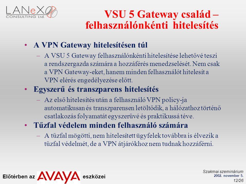 Előtérben az eszközei Szakmai szeminárium 2002. november 5. 12/26 VSU 5 Gateway család – felhasználónkénti hitelesítés A VPN Gateway hitelesítésen túl