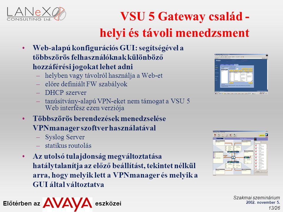 Előtérben az eszközei Szakmai szeminárium 2002. november 5. 13/26 VSU 5 Gateway család - helyi és távoli menedzsment Web-alapú konfigurációs GUI: segí