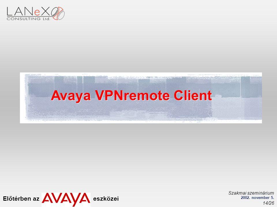 Előtérben az eszközei Szakmai szeminárium 2002. november 5. 14/26 Avaya VPNremote Client