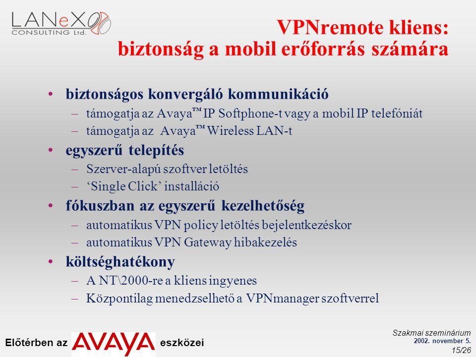 Előtérben az eszközei Szakmai szeminárium 2002. november 5. 15/26 VPNremote kliens: biztonság a mobil erőforrás számára biztonságos konvergáló kommuni
