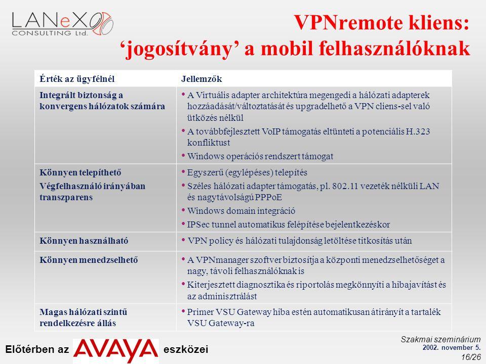 Előtérben az eszközei Szakmai szeminárium 2002. november 5. 16/26 VPNremote kliens: 'jogosítvány' a mobil felhasználóknak Érték az ügyfélnélJellemzők
