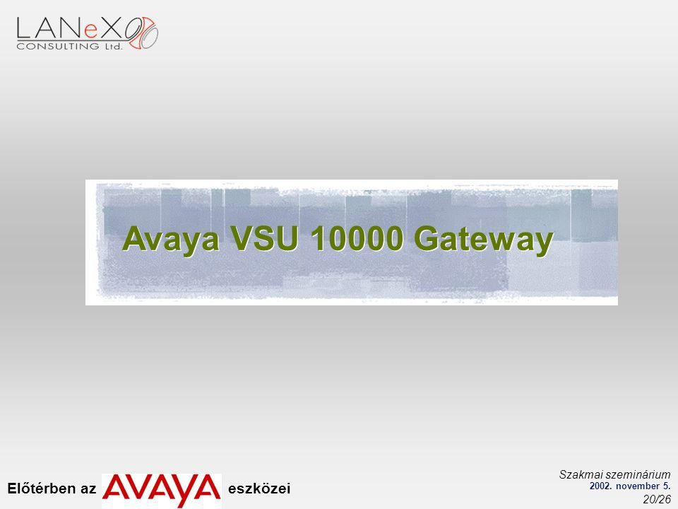 Előtérben az eszközei Szakmai szeminárium 2002. november 5. 20/26 Avaya VSU 10000 Gateway