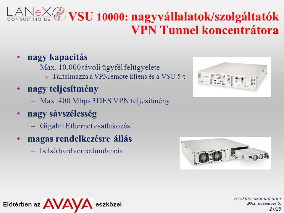 Előtérben az eszközei Szakmai szeminárium 2002. november 5. 21/26 VSU 10000: nagyvállalatok/szolgáltatók VPN Tunnel koncentrátora nagy kapacitás –Max.