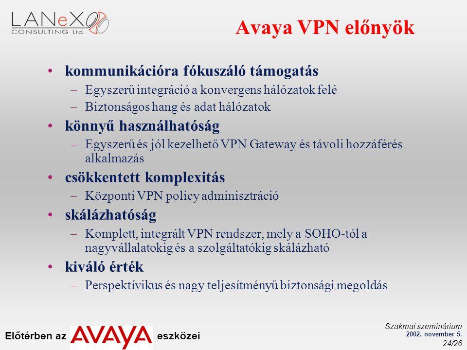 Előtérben az eszközei Szakmai szeminárium 2002. november 5. 24/26 Avaya VPN előnyök kommunikációra fókuszáló támogatás –Egyszerű integráció a konverge