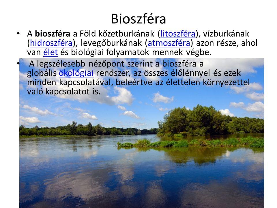Bioszféra A bioszféra a Föld kőzetburkának (litoszféra), vízburkának (hidroszféra), levegőburkának (atmoszféra) azon része, ahol van élet és biológiai folyamatok mennek végbe.litoszférahidroszféraatmoszféraélet A legszélesebb nézőpont szerint a bioszféra a globális ökológiai rendszer, az összes élőlénnyel és ezek minden kapcsolatával, beleértve az élettelen környezettel való kapcsolatot is.ökológiai