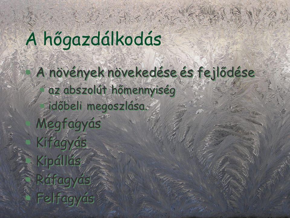 A hőgazdálkodás §A növények növekedése és fejlődése §az abszolút hőmennyiség §időbeli megoszlása.