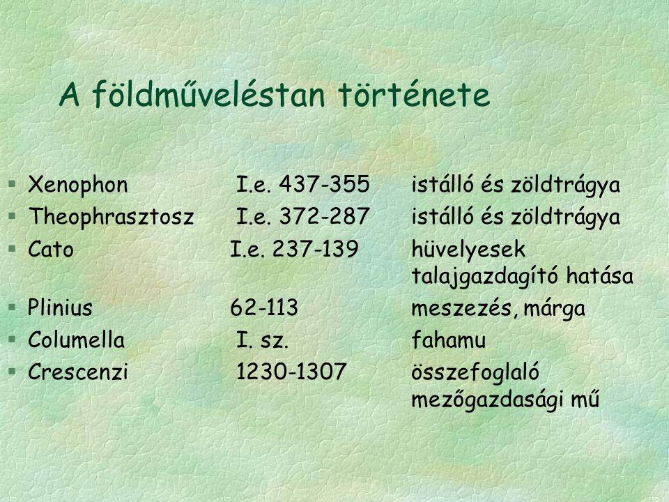 A földműveléstan története §Xenophon I.e. 437-355istálló és zöldtrágya §Theophrasztosz I.e.