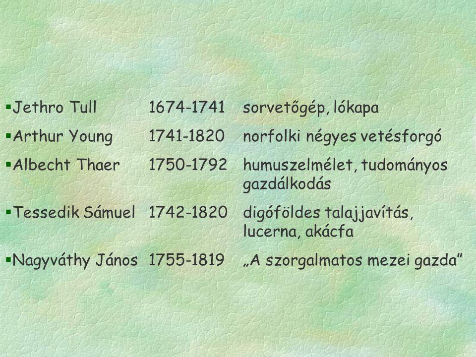 """§Jethro Tull1674-1741sorvetőgép, lókapa §Arthur Young1741-1820norfolki négyes vetésforgó §Albecht Thaer1750-1792humuszelmélet, tudományos gazdálkodás §Tessedik Sámuel1742-1820digóföldes talajjavítás, lucerna, akácfa §Nagyváthy János1755-1819""""A szorgalmatos mezei gazda"""