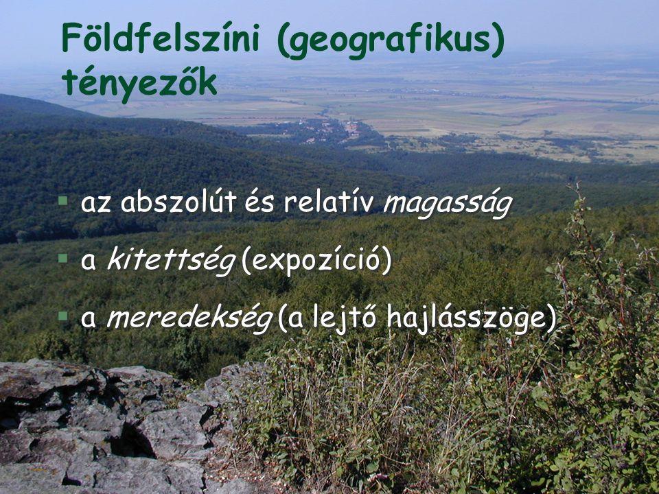 Földfelszíni (geografikus) tényezők §az abszolút és relatív magasság §a kitettség (expozíció) §a meredekség (a lejtő hajlásszöge) §az abszolút és relatív magasság §a kitettség (expozíció) §a meredekség (a lejtő hajlásszöge)