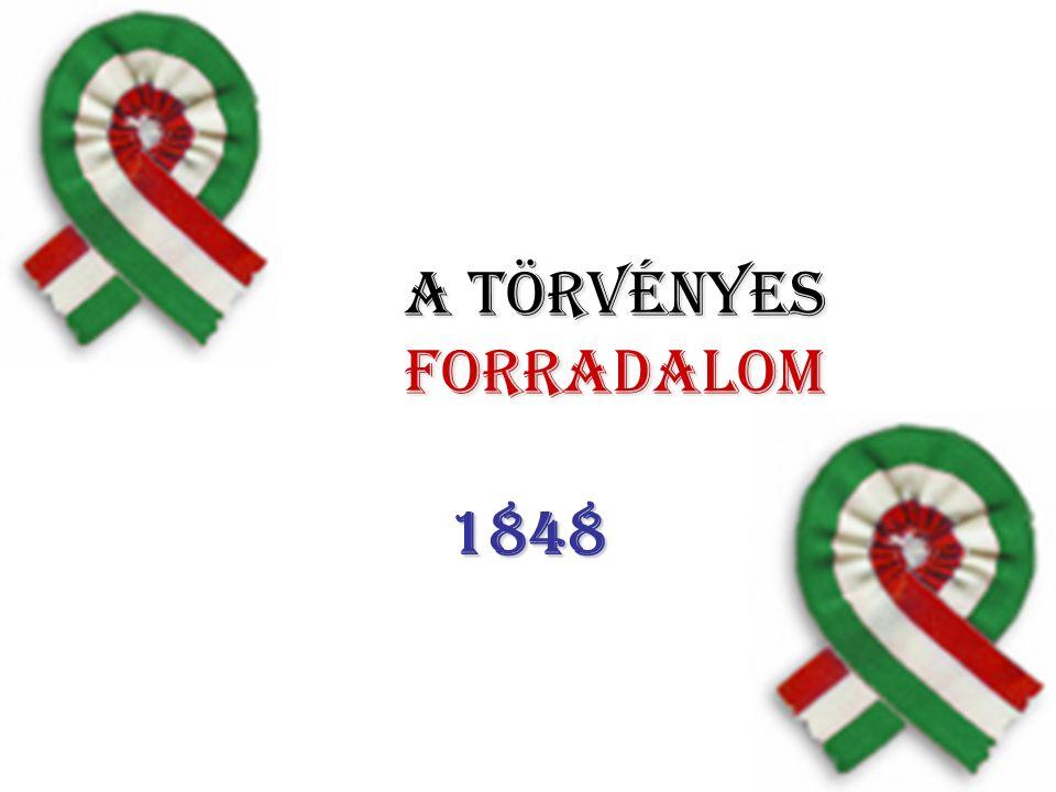 Az 1848-as áprilisi törvények: c) Magyarország önállóságának biztosítása a Habsburg Birodalmon belül: a király távollétében jogköre a nádorra száll Önálló magyar kormány az ogy-nek felelős a külügyek az uralkodó jogkörében maradtak