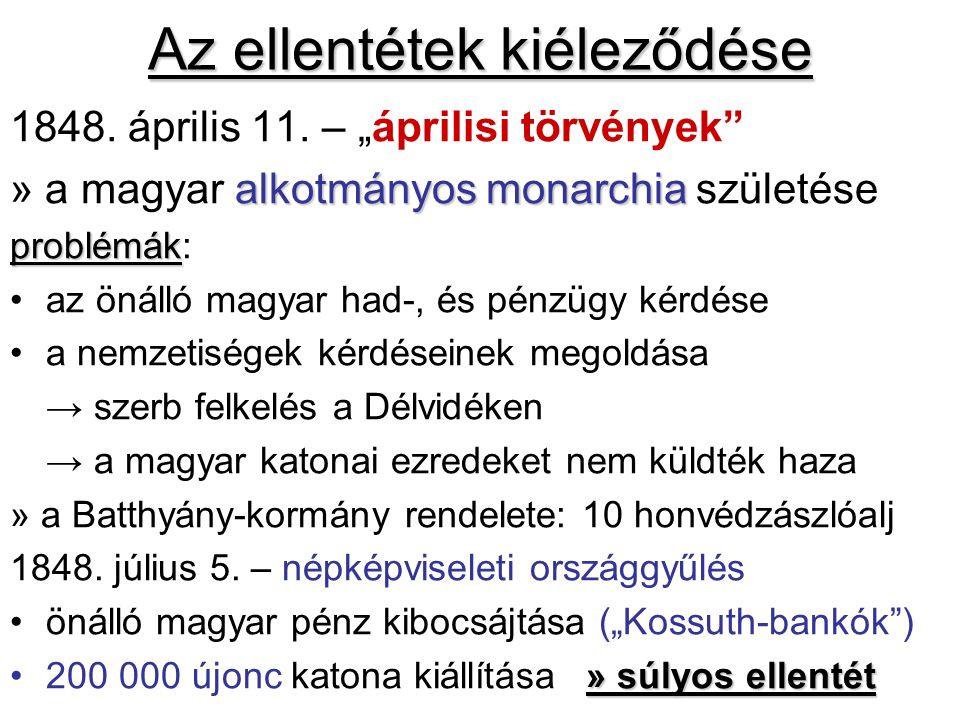 Az ellentétek kiéleződése 1848. április 11.