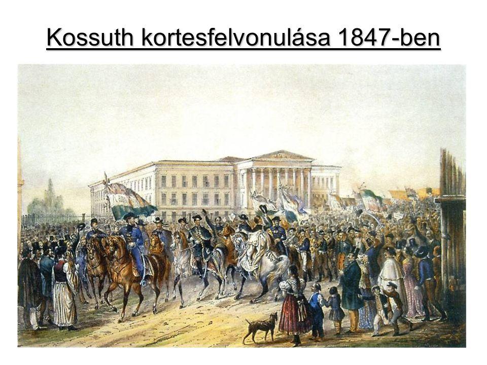 Az 1847-48-as országgyűlés 1847: óriási harcok a mandátumokért (udvar↔ellenzék) Kossuth Pest vármegye követeként a főszereplő Az alsótáblán támadja az adminisztrátori rendszert Jelen van a 2 megalakult párt (Konzervatív, Ellenzéki) 1848: az események felgyorsulnak »reformok lehetősége A párizsi forradalom híre megérkezik Pozsonyba  márc.