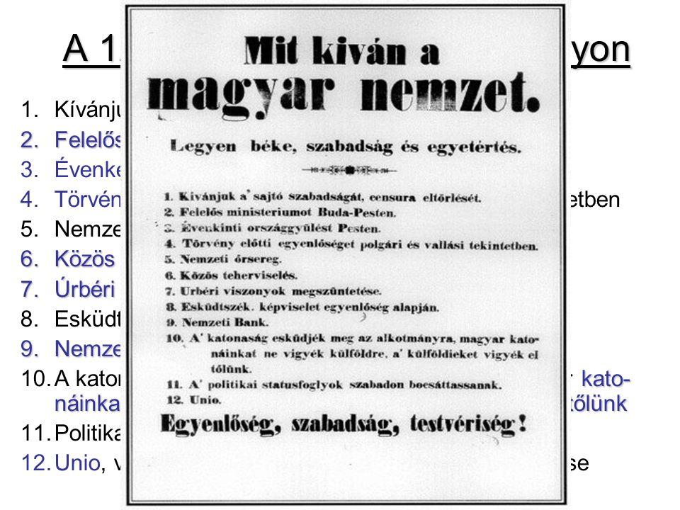 A 12 pont korabeli nyomtatványon sajtó szabadságát, cenzúra eltörlését 1.Kívánjuk a sajtó szabadságát, cenzúra eltörlését 2.Felelős minisztériumot 2.Felelős minisztériumot Buda-Pesten 3.Évenkénti országgyűlést Pesten 4.Törvény előtti egyenlőséget polgári és vallási tekintetben 5.Nemzeti őrsereg 6.Közös teherviselés 6.Közös teherviselés, képviselet egyenlőség alapján 7.Úrbéri viszonyok eltörlése 8.Esküdtszék 9.Nemzeti Bank kato- náinkat ne vigyék külföldre, a külföldieket vigyék el tőlünk 10.A katonaság esküdjék meg az alkotmányra, magyar kato- náinkat ne vigyék külföldre, a külföldieket vigyék el tőlünk 11.Politikai státuszfoglyok szabadon bocsássanak 12.Unio, vagyis Erdély Magyarországgal való egyesítése
