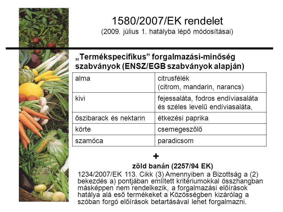 """""""Termékspecifikus forgalmazási-minőség szabványok (ENSZ/EGB szabványok alapján) almacitrusfélék (citrom, mandarin, narancs) kivifejessaláta, fodros endíviasaláta és széles levelű endíviasaláta, őszibarack és nektarinétkezési paprika körtecsemegeszőlő szamócaparadicsom 1580/2007/EK rendelet (2009."""
