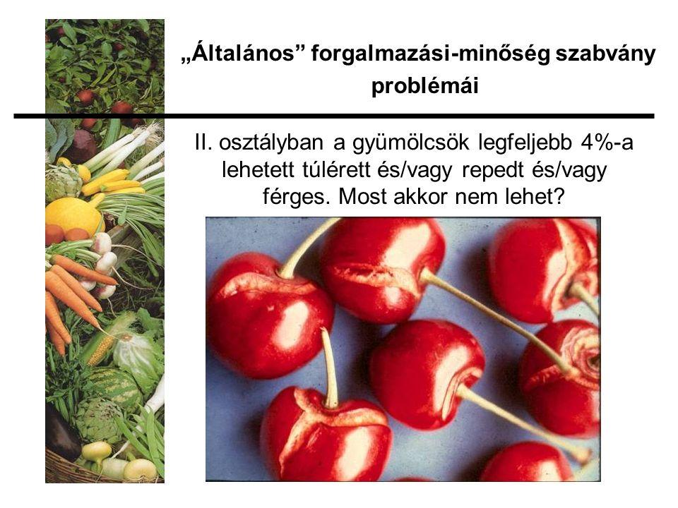 II. osztályban a gyümölcsök legfeljebb 4%-a lehetett túlérett és/vagy repedt és/vagy férges.