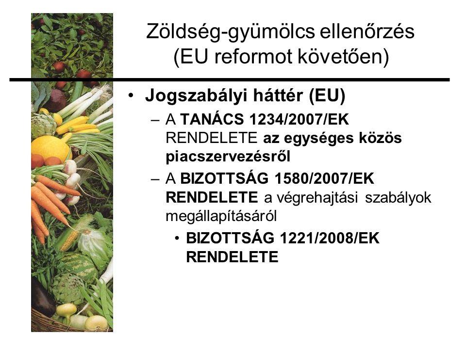 Zöldség-gyümölcs ellenőrzés (EU reformot követően) Jogszabályi háttér (EU) –A TANÁCS 1234/2007/EK RENDELETE az egységes közös piacszervezésről –A BIZOTTSÁG 1580/2007/EK RENDELETE a végrehajtási szabályok megállapításáról BIZOTTSÁG 1221/2008/EK RENDELETE