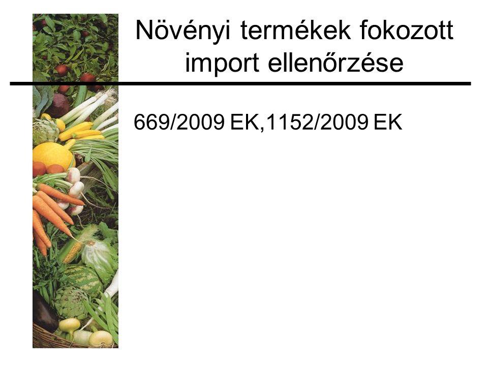 Növényi termékek fokozott import ellenőrzése 669/2009 EK,1152/2009 EK
