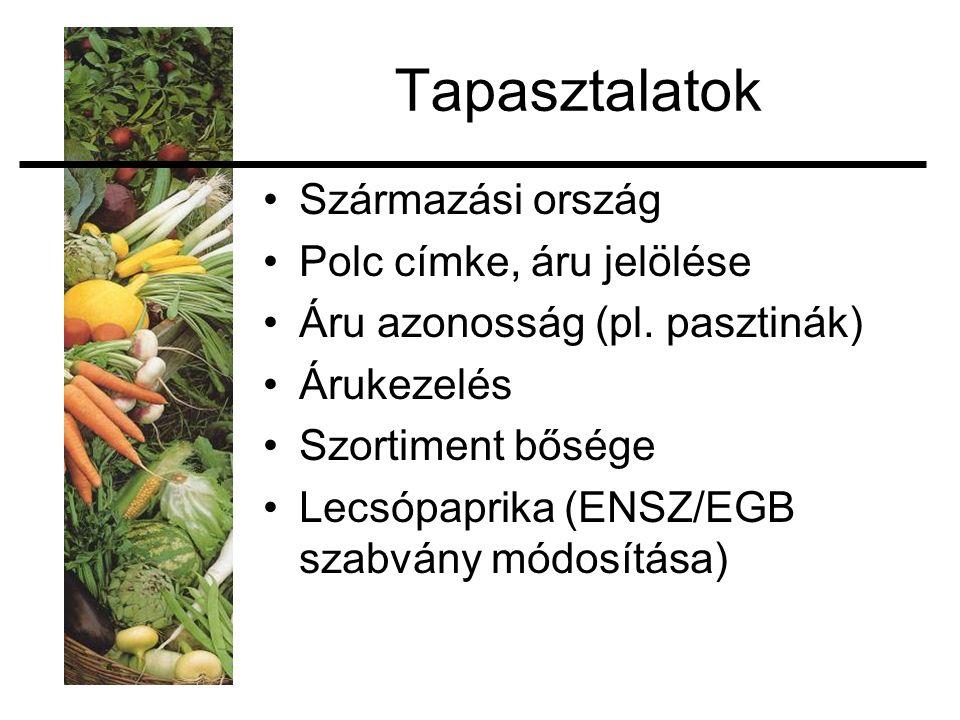 Tapasztalatok Származási ország Polc címke, áru jelölése Áru azonosság (pl.
