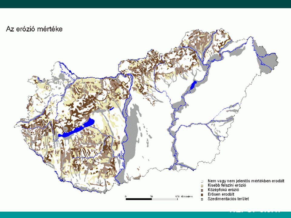 Az erózió mértékét befolyásolja Csapadék: intenzitás, időtartam, cseppnagyság, olvadó hó mennyisége, hóolvadás időpontja.