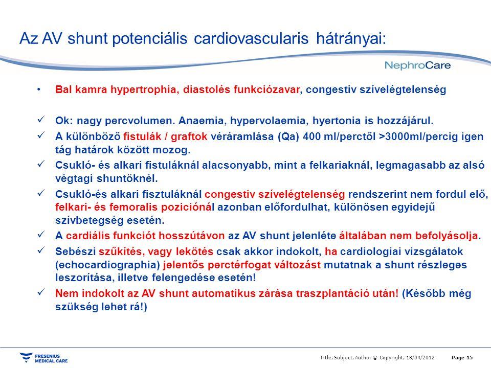 Az AV shunt potenciális cardiovascularis hátrányai: Page 15Title, Subject, Author © Copyright, 18/04/2012 Bal kamra hypertrophia, diastolés funkciózavar, congestiv szívelégtelenség Ok: nagy percvolumen.