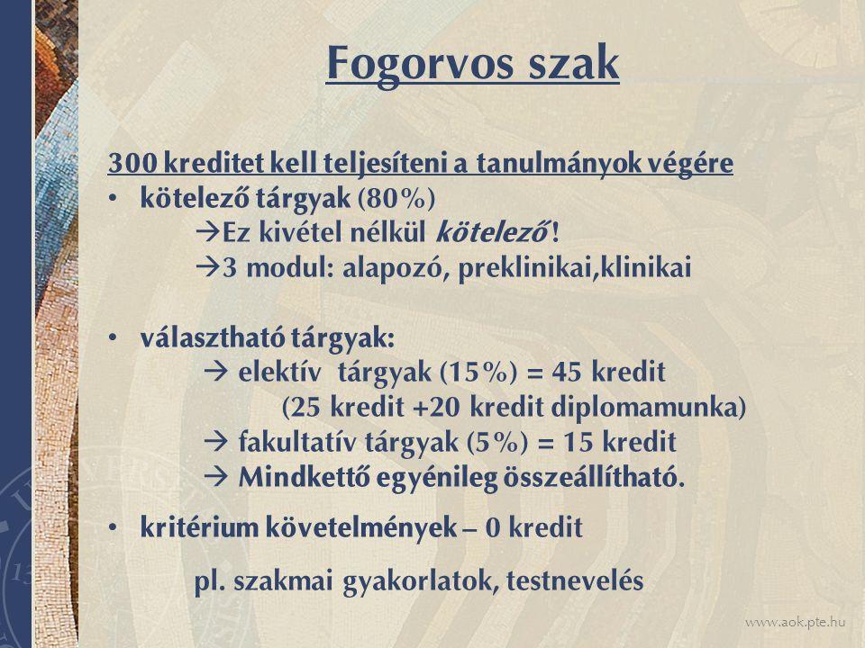 www.aok.pte.hu Fogorvos szak 300 kreditet kell teljesíteni a tanulmányok végére kötelező tárgyak (80%)  Ez kivétel nélkül kötelező .