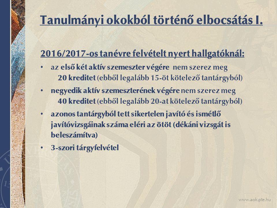www.aok.pte.hu Tanulmányi okokból történő elbocsátás I.