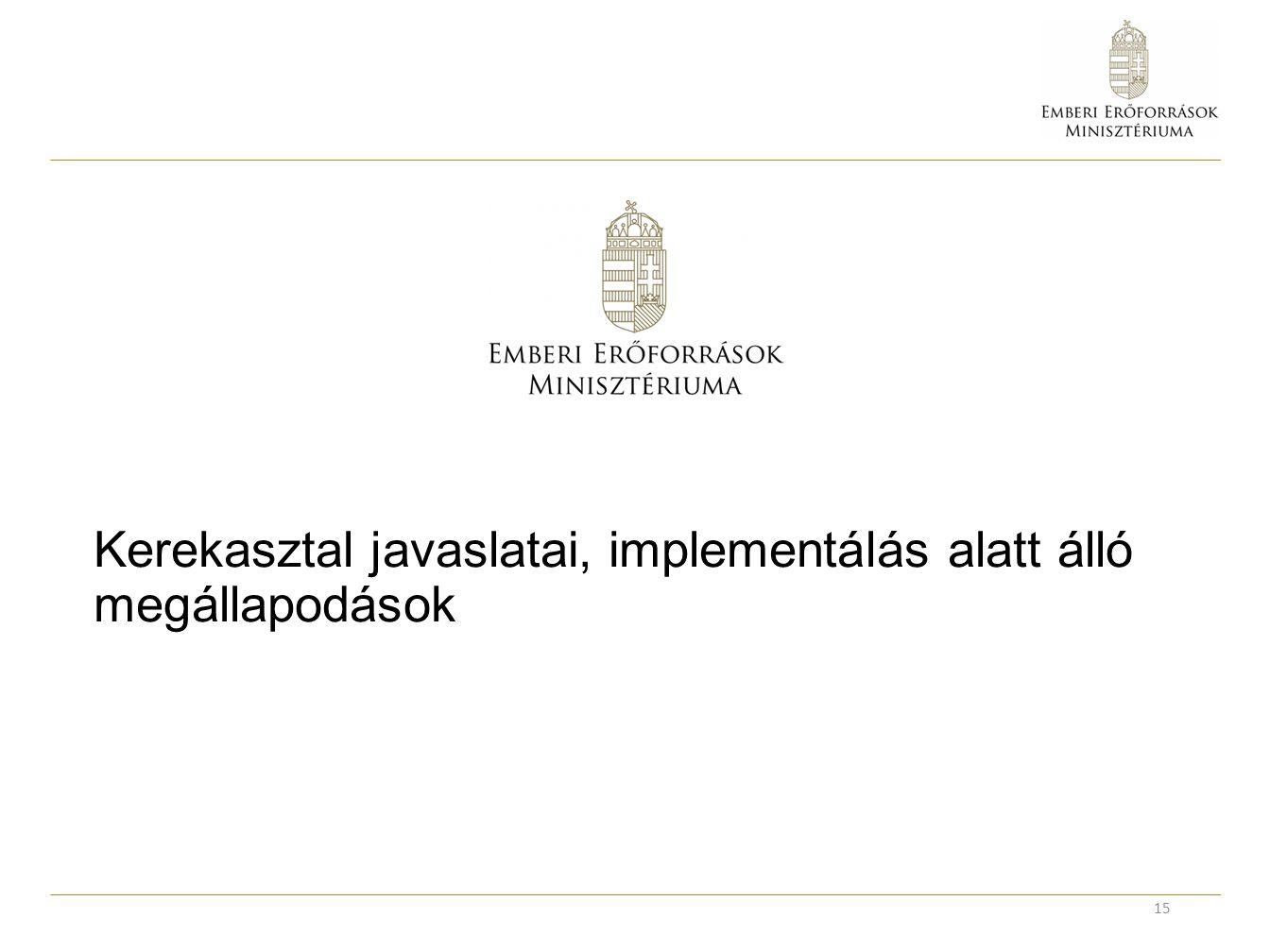 Kerekasztal javaslatai, implementálás alatt álló megállapodások 15