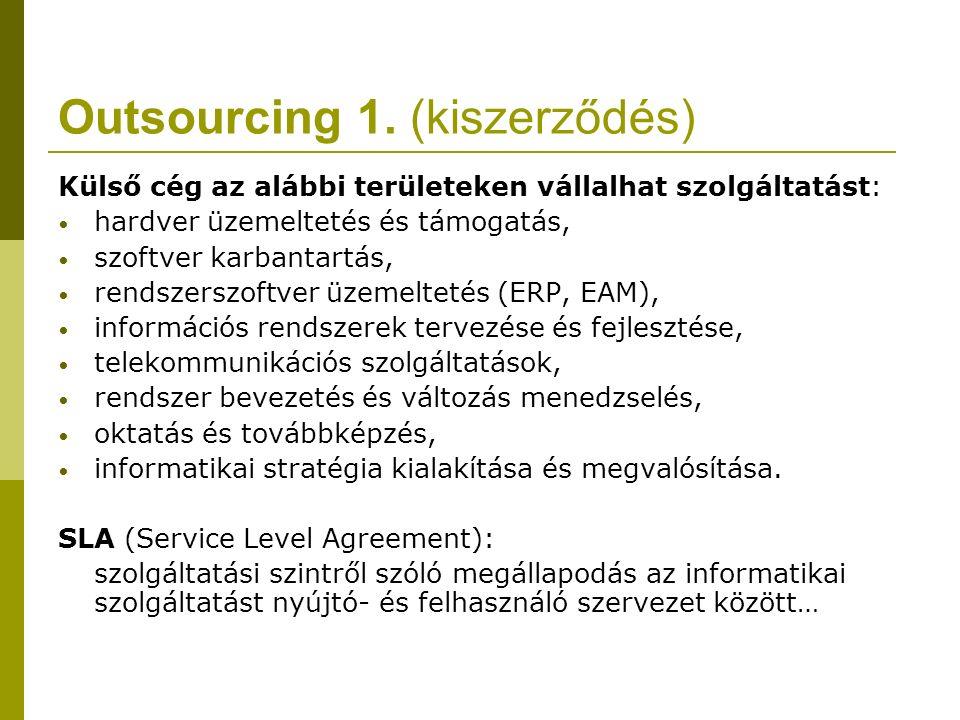 Outsourcing 1. (kiszerződés) Külső cég az alábbi területeken vállalhat szolgáltatást: hardver üzemeltetés és támogatás, szoftver karbantartás, rendsze