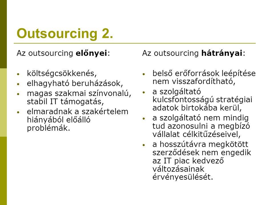 Outsourcing 2. Az outsourcing előnyei: költségcsökkenés, elhagyható beruházások, magas szakmai színvonalú, stabil IT támogatás, elmaradnak a szakértel