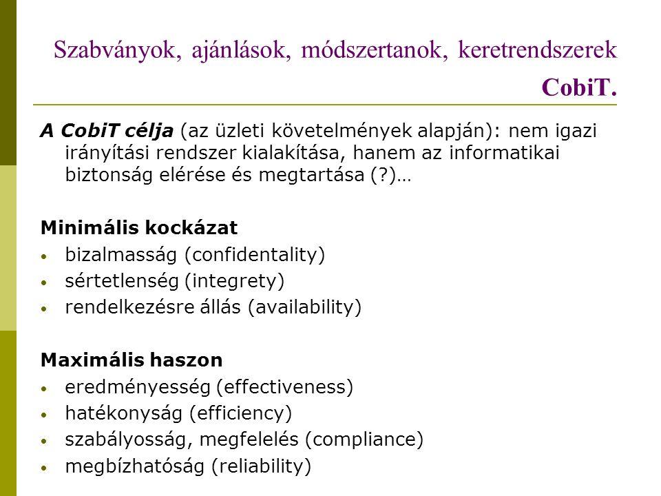 Szabványok, ajánlások, módszertanok, keretrendszerek CobiT.